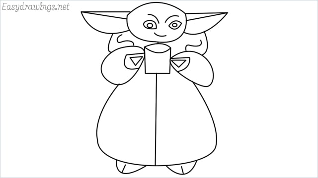 How to draw a baby yoda step by step