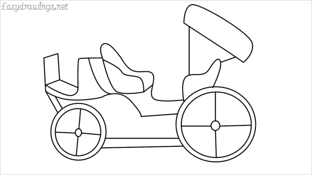 How to draw a carriage step by step