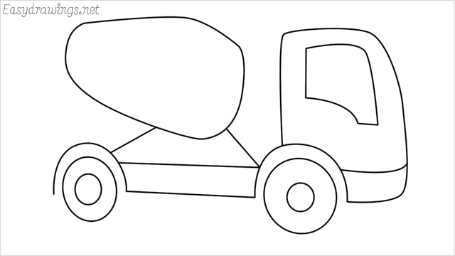 How to draw a cement truck step by step
