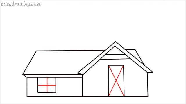 How to draw a farmhouse step (10)
