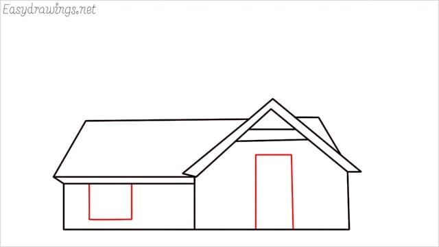 How to draw a farmhouse step (9)