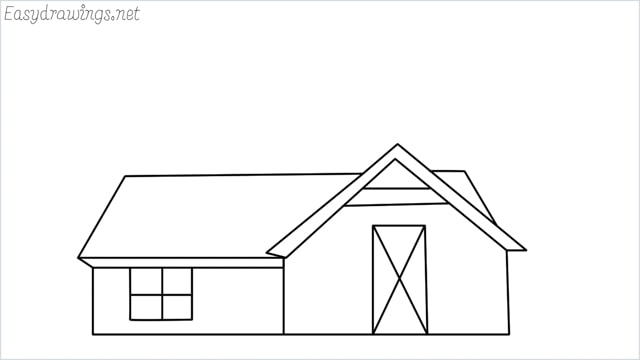 How to draw a farmhouse step by step