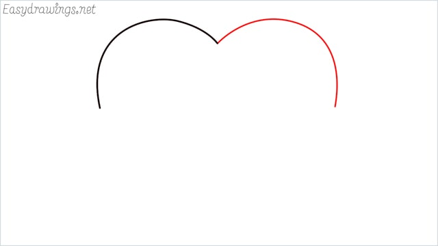 How to draw a heart shape step (2)