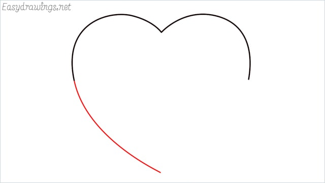 How to draw a heart shape step (3)