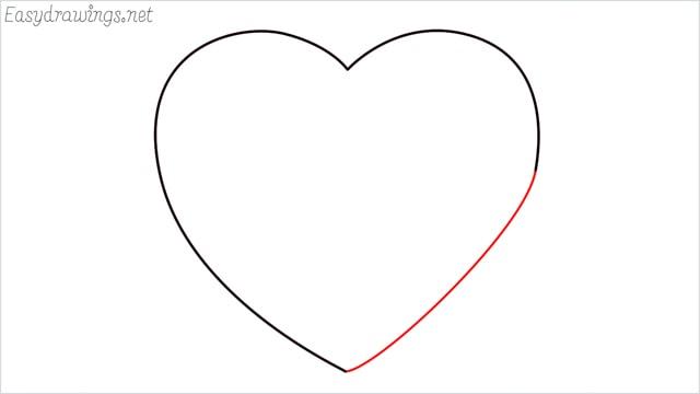 How to draw a heart shape step (4)