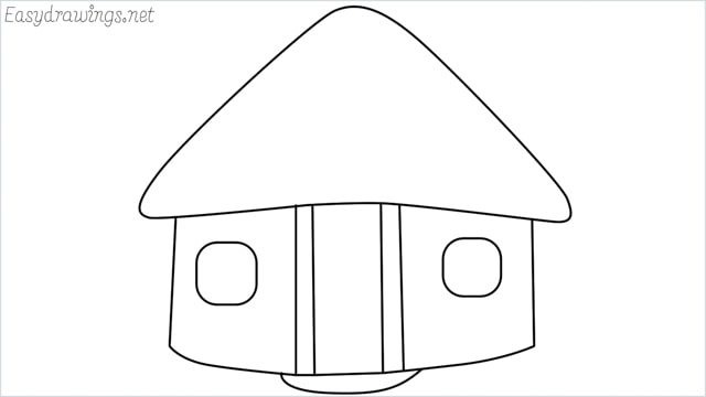 How to draw a hut step by step