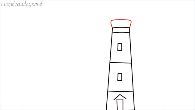 How to draw a lighthouse step (4)