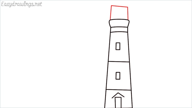 How to draw a lighthouse step (5)