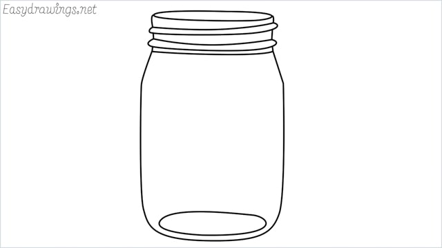 How to draw a mason jar step by step