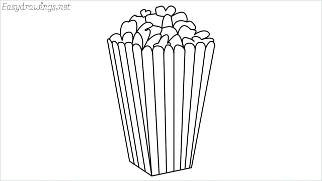 How to draw a popcorn step by step