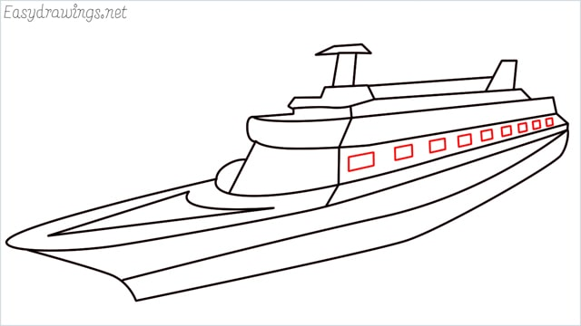How to draw a ship step (14)