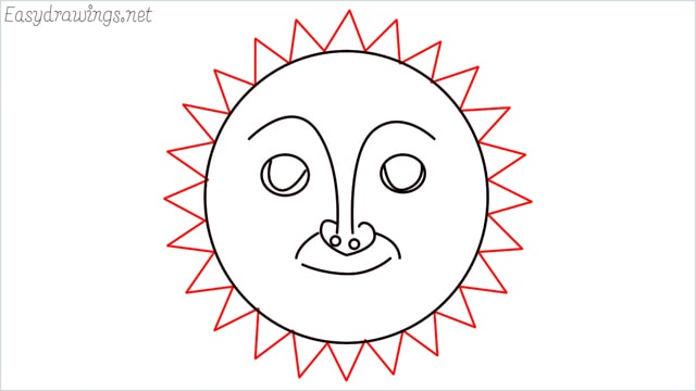 How to draw a sun step (8)