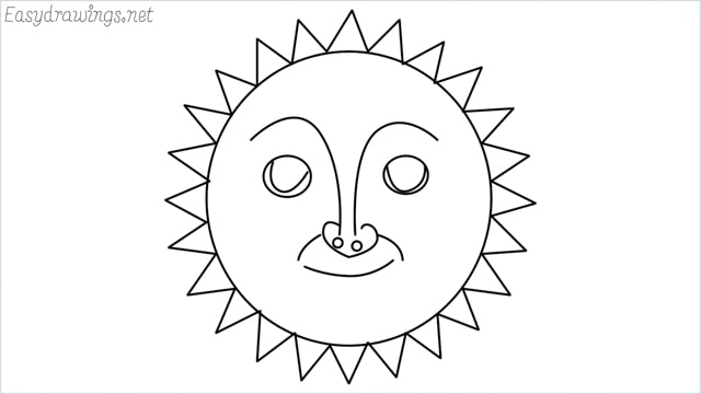 How to draw a sun step by step