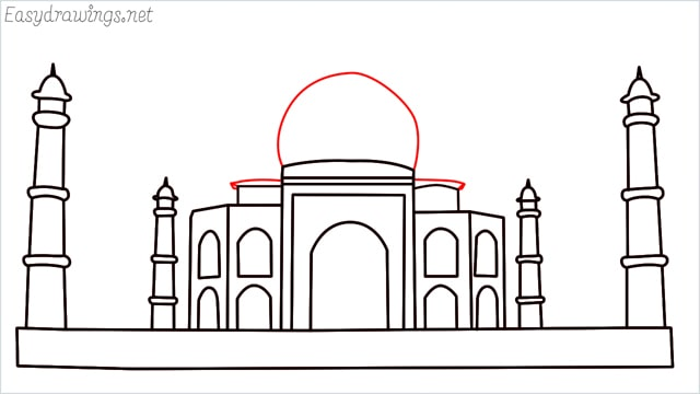 How to draw a taj mahal step (11)