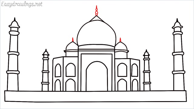 How to draw a taj mahal step (13)