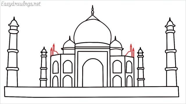 How to draw a taj mahal step (14)