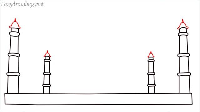 How to draw a taj mahal step (4)