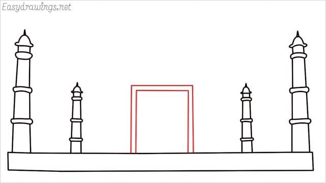 How to draw a taj mahal step (5)