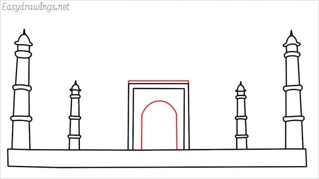 How to draw a taj mahal step (6)