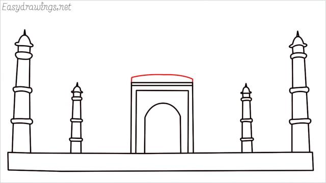 How to draw a taj mahal step (7)