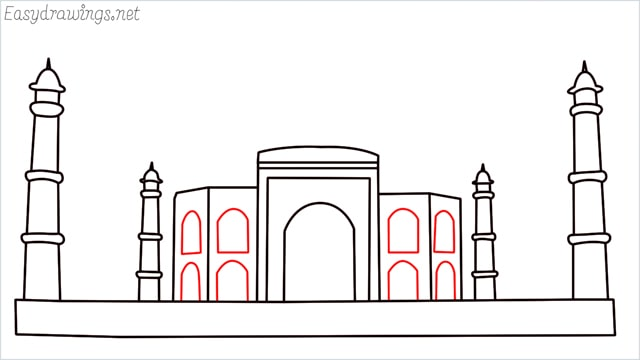 How to draw a taj mahal step (9)