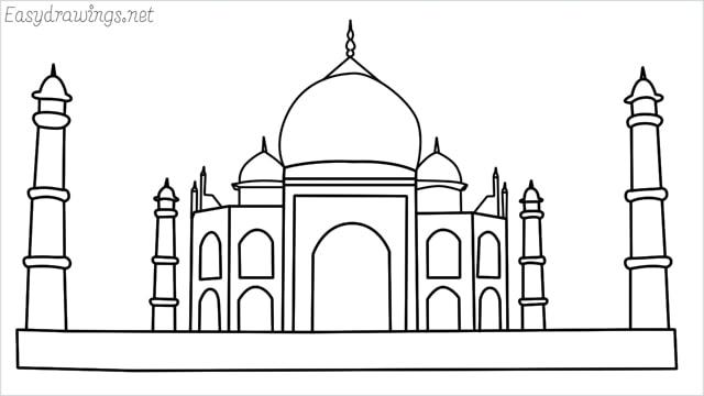 How to draw a taj mahal step by step