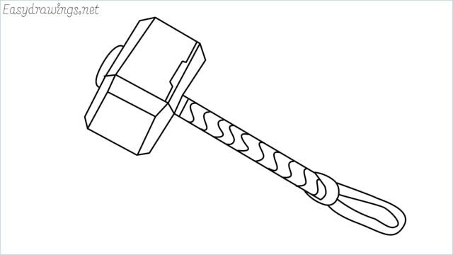 How to draw a thor hammer step by step