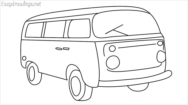 How to draw a van step by step