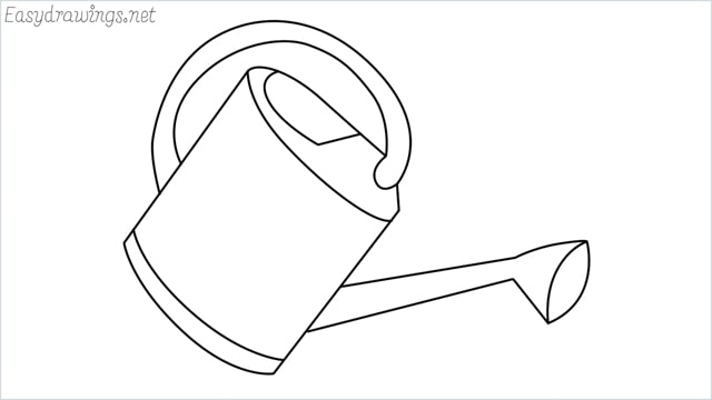 How to draw a watering can step by step
