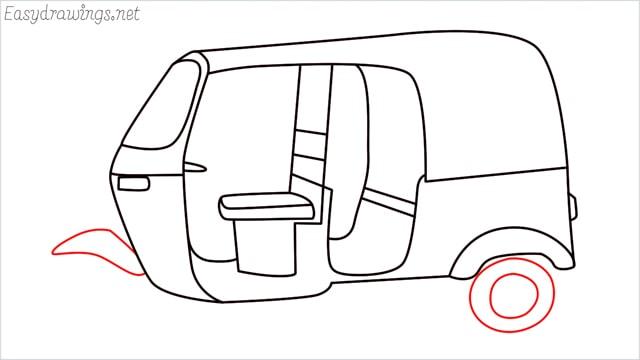 How to draw auto rickshaw step (13)