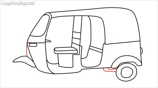 How to draw auto rickshaw step (14)