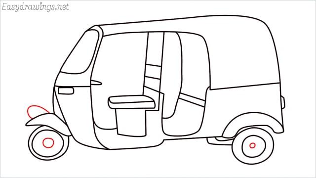 How to draw auto rickshaw step (16)