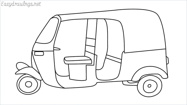 How to draw auto rickshaw step by step