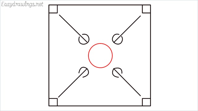 How to draw carrom board step (5)