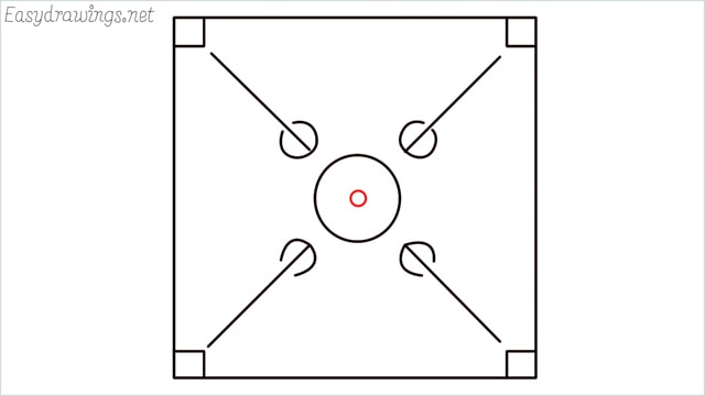 How to draw carrom board step (6)