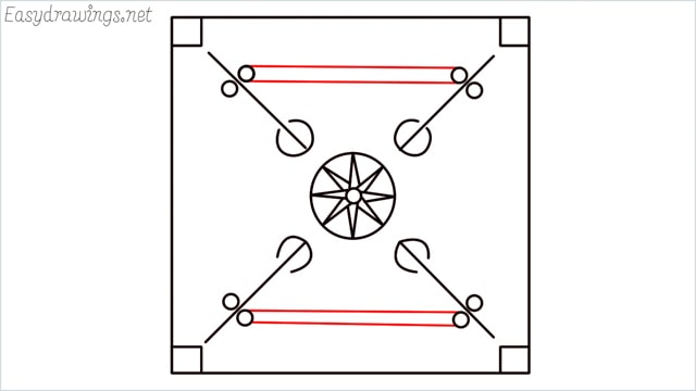 How to draw carrom board step (9)