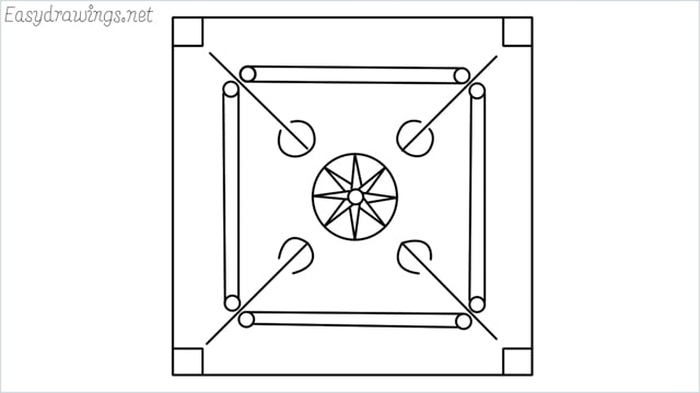 How to draw carrom board step by step