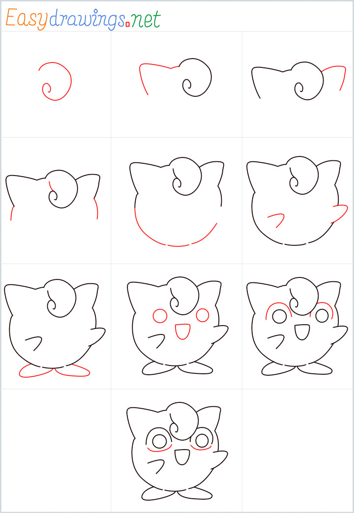 Overview for Jigglypuff drawing all steps in one place