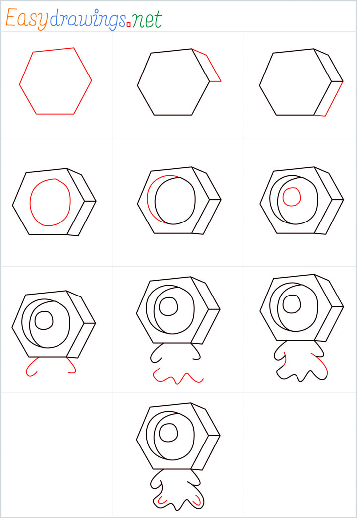 Overview for Meltan drawing all steps