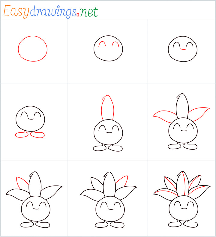 Overview for Oddish drawing all steps