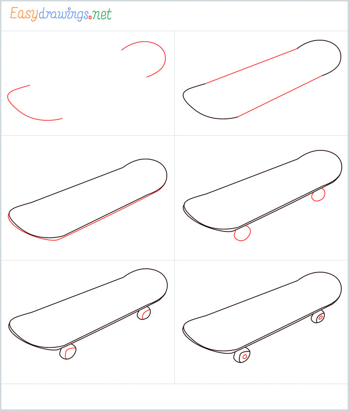 Overview for Skateboard drawing all steps in one place