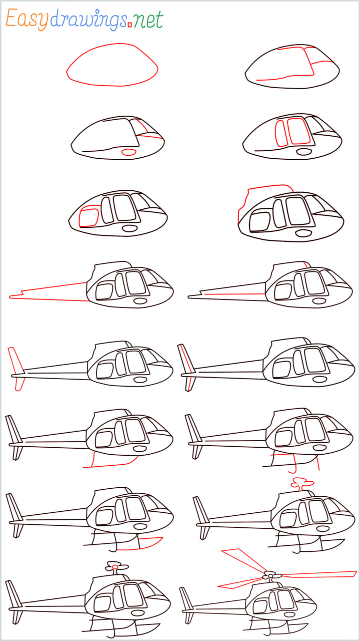Overview of Helicopter drawing all in one step