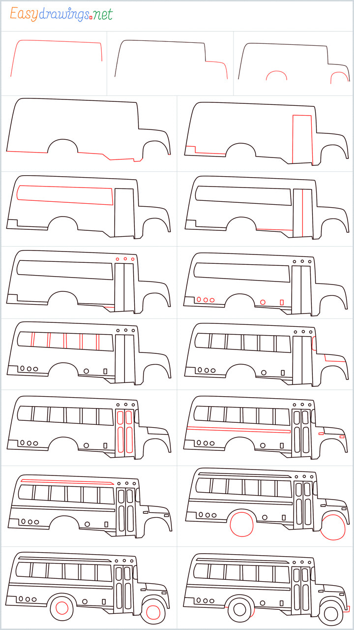 all in one steps for School bus drawing