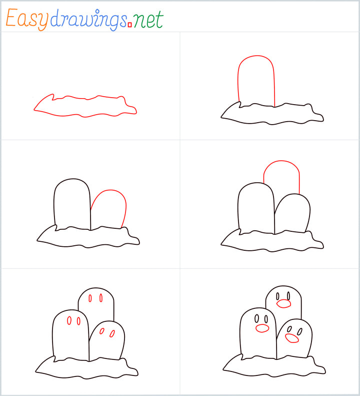 all outline for Dugtrio drawing example