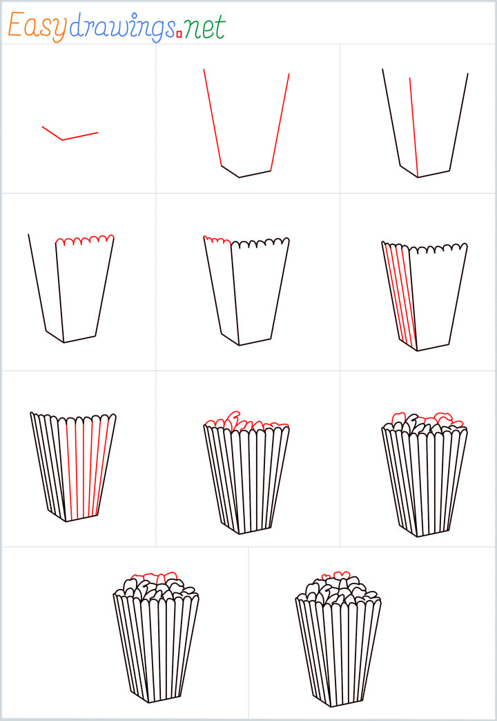 all outline for Popcorn drawing example