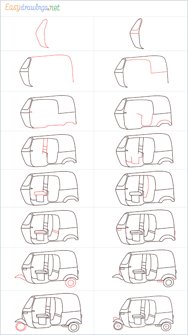 all reference outline drawing in one place for Auto rickshaw drawing tutorial