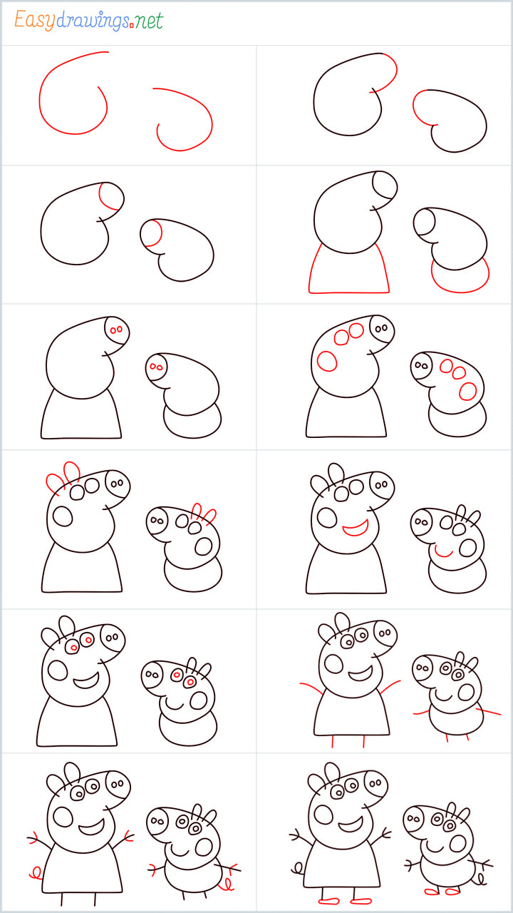 all reference outline drawing in one place for a peppa pig drawing tutorial