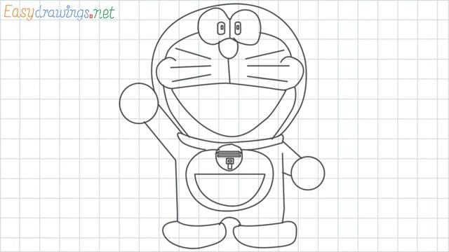 grid line Doraemon drawing