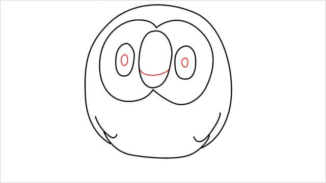 how to draw Rowlet step (6)