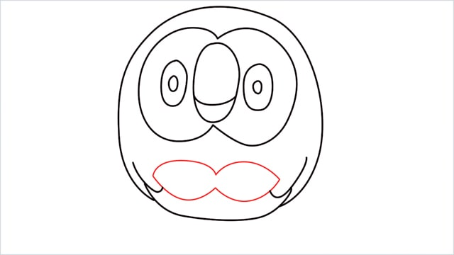 how to draw Rowlet step (7)